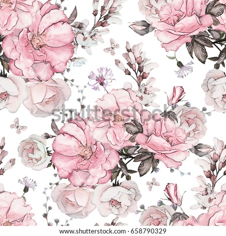 Seamless pattern pink flowers leaves on stok llstrasyon 658790329 seamless pattern with pink flowers and leaves on white background watercolor floral pattern flower mightylinksfo