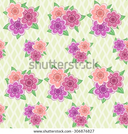 Seamless pattern with pink flowers on light wattled background. Raster version