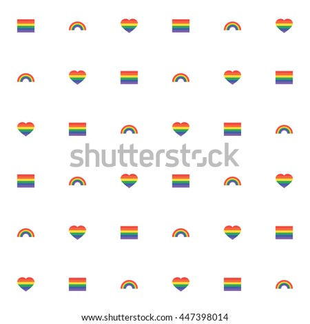 Seamless pattern with rainbow, rainbow heart and flag. pride Lgbt sign for web, print, wallpaper, fashion fabric, textile design, background for invitation card or holiday decor.
