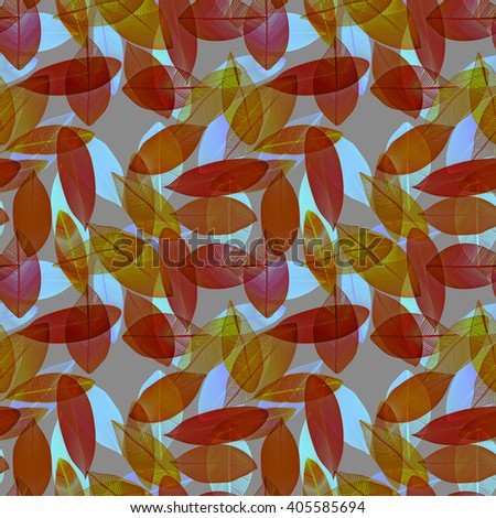 Seamless pattern with red colored degrade leaves. Foliage. Boho pattern. Raster. - stock photo