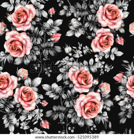 Seamless Pattern Red Flowers Leaves Watercolor Stock Illustration 525095389 - Shutterstock