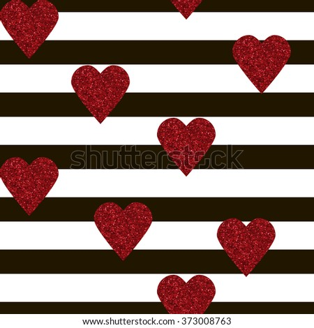 Seamless pattern with red glitter textured hearts confetti print on black white striped background