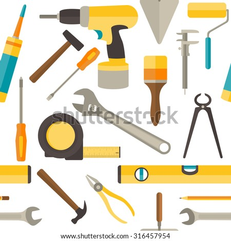 Seamless pattern with repairs tools isolated on white background. Rasterized Copy - stock photo