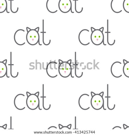 Seamless pattern with repeating cat lettering with lettering a in the shape of cat isolated on white background - stock photo