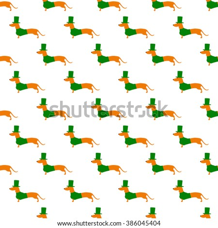 Seamless pattern with repeating cute dachshund in emerald hat and jersey isolated on white background. Textile, wrapping paper, wallpaper, boxes decoration, other packing elements template - stock photo