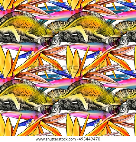 Seamless Pattern With Reptile And Flowers Painted Bright Colored Lizards On A Tree Branch
