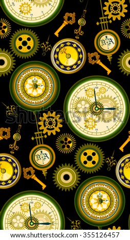 Seamless pattern with retro clock