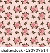 Seamless pattern with rose flowers on pink background - stock photo