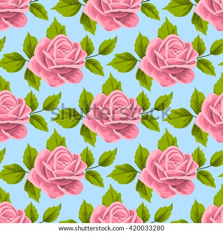 Seamless pattern with roses and leaves on light blue background. Illustration in retro style.