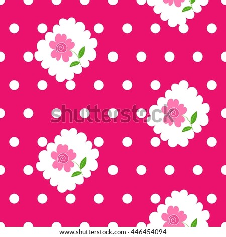 Seamless pattern with roses and white dots on bright pink background.