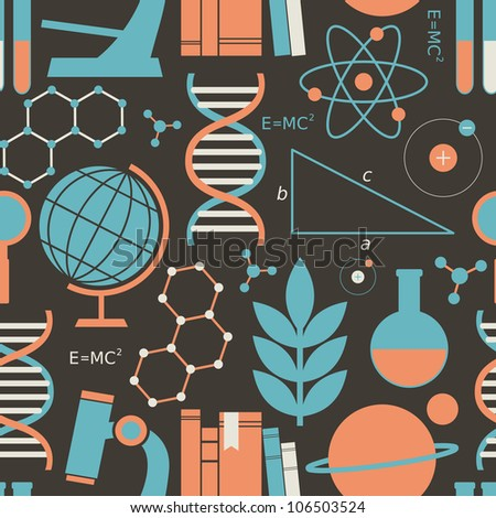 Seamless pattern with science and education symbols. - stock photo