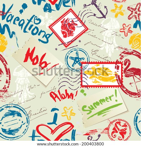 Seamless pattern with Sea and tropical elements - rubber stamps collection. Ready to use as swatch. Raster version - stock photo