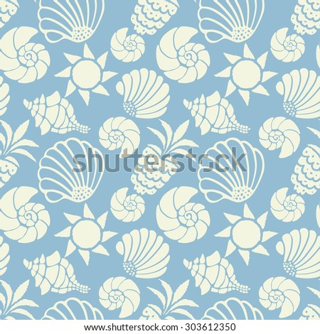 Seamless pattern with sea shells, sun and pineapples in blue and white. Repeating print background texture. Cloth design. Wallpaper, wrapping