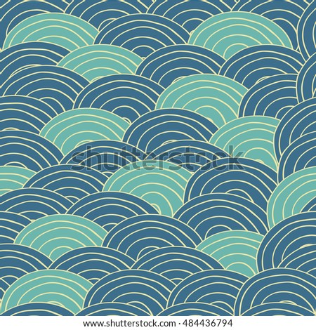 Seamless pattern with sea waves in handmade cartoon style. Blue and dark blue color. Raster version of illustration