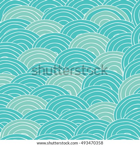 Seamless pattern with sea waves in handmade cartoon style. Cyan and blue color. Raster version of illustration