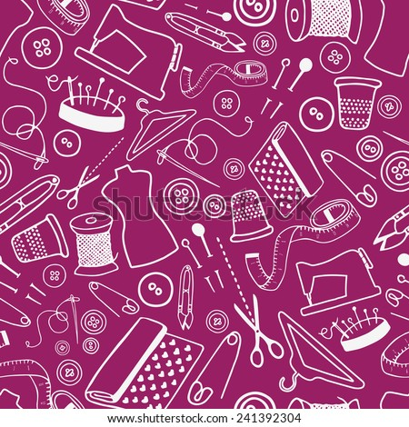 Seamless pattern with sewing and tailoring stuff.  Hand drawn background. Useful for invitations, scrapbooking, design. - stock photo