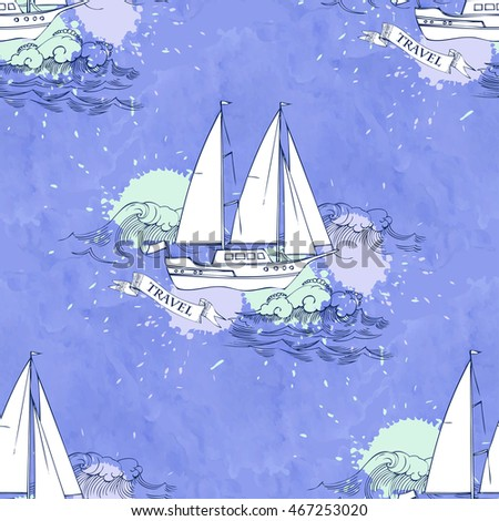 Seamless pattern with ships and travel elements. Hand drawn illustration