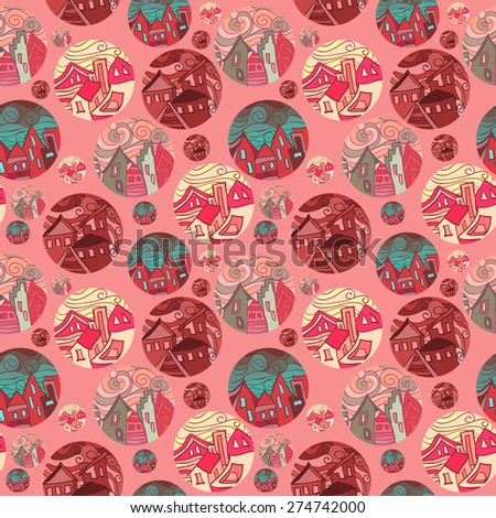 Seamless Pattern With Shots Of Cities In Red Tones - stock photo