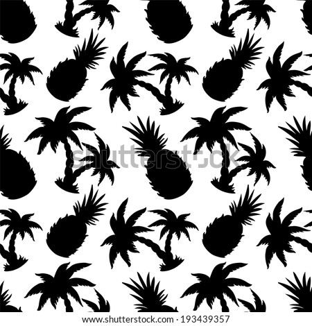 Seamless pattern with silhouette tropical coconut palm trees and pineapples. Black and white. Food background. Fruits. Rain forest. Exotics. Summer. Hand drawing - raster version