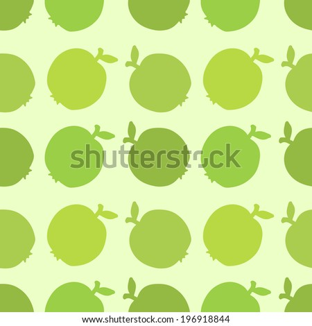 Seamless pattern with silhouettes apples - raster version - stock photo