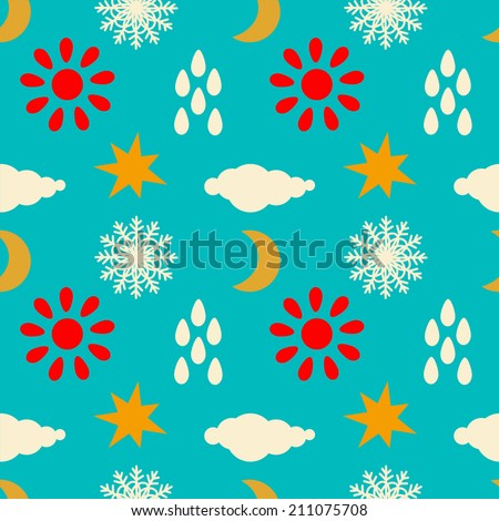 Seamless pattern with silhouettes clouds, rain drops, sun, snowflakes, stars, half moon. Fabric design. Wallpaper - raster version  - stock photo
