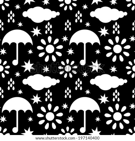 Seamless pattern with silhouettes clouds, rain drops, sun, stars, umbrellas in black and white. Endless print texture. Abstract geometric monochrome background - raster version - stock photo