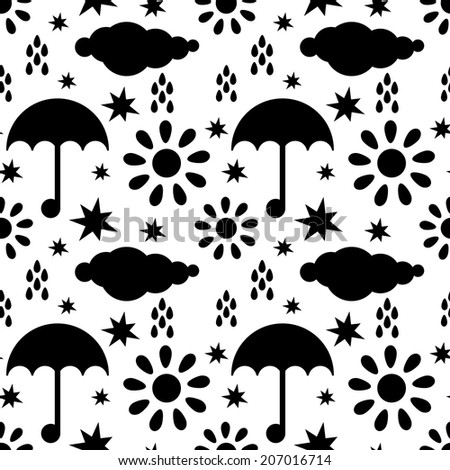 Seamless pattern with silhouettes clouds, rain drops, sun, stars, umbrellas in black and white. Endless print texture - raster version - stock photo