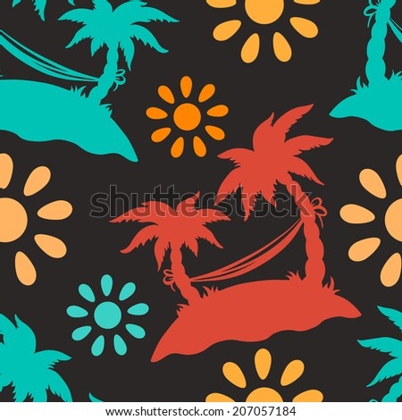 Seamless pattern with silhouettes coconut palm trees. Beach holidays. Endless print silhouette texture. Summer. Hammock. Sun. Abstract repeating background. Fabric design. Wallpaper - raster version  - stock photo