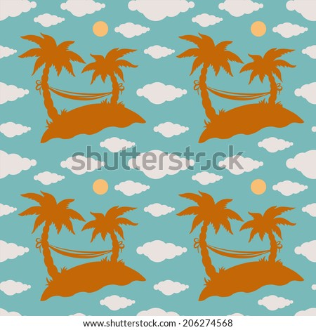 Seamless pattern with silhouettes coconut palm trees. Endless print background texture. Summer. Hammock. Clouds. Sun. Wallpaper - raster version - stock photo