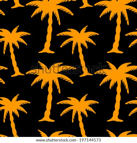 Seamless pattern with silhouettes coconut palm trees. Endless print texture. Tropical rain forest. Summer. Beach holidays - raster version