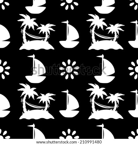 Seamless pattern with silhouettes coconut palm trees in black and white. Endless print silhouette texture. Summer. Hammock. Yacht. Sun - raster version - stock photo
