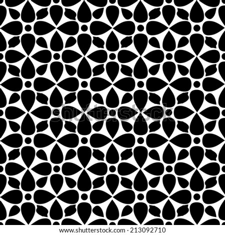 Seamless pattern with silhouettes lotus flowers in black and white. Abstract floral monochrome repeating background. Endless print texture. Fabric design. Wallpaper - raster version - stock photo