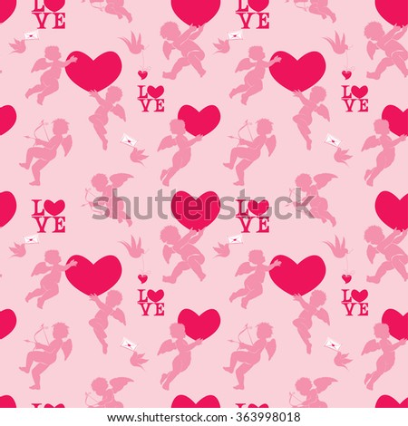 Seamless pattern with silhouettes of angel, heart, bird and calligraphic text LOVE. Valentine`s Day pink background, Love concept. Raster version - stock photo