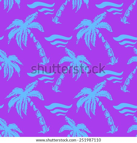 Seamless pattern with silhouettes tropical coconut palm trees and waves. Natural print texture. Repeating background. Cloth design. Wallpaper