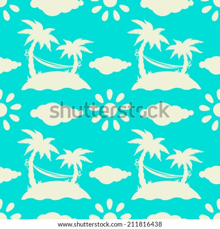 Seamless pattern with silhouettes tropical coconut palm trees, hammock, sun, clouds, island. Summer. Beach holidays background. Endless print texture. Fabric design. Wallpaper - raster version - stock photo