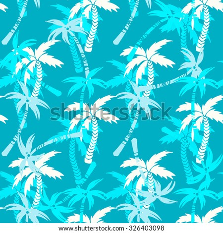 Seamless pattern with silhouettes tropical coconut palm trees. Summer colorful repeating background. Natural print texture. Cloth design. Wallpaper, wrapping