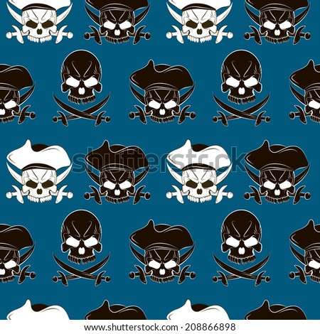 Seamless pattern with skulls and pirate sword blue background - stock photo