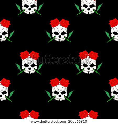 Seamless pattern with skulls and rose black background - stock photo
