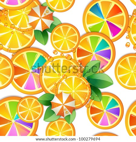 Seamless pattern with slice orange and umbrella
