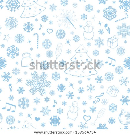 Seamless pattern with snowflakes and Christmas symbols, cyan on white. Raster version. - stock photo