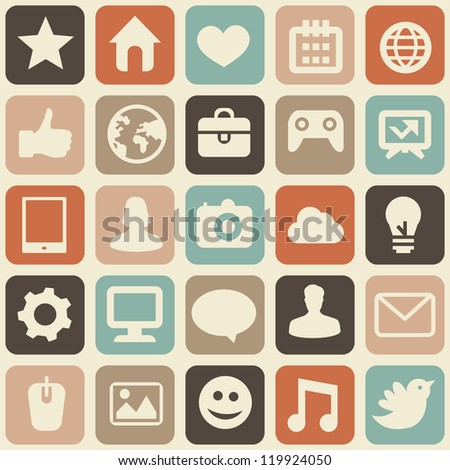seamless pattern with social media icons - abstract background - raster illustration