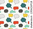 Seamless pattern with speech and thought bubbles on the polka dot background. - stock photo