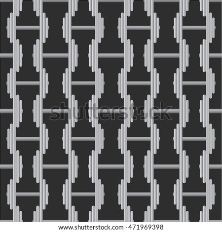 Seamless pattern with sport dumbbells on black background.