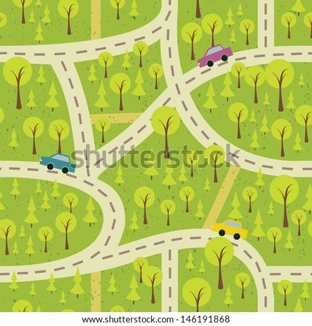 seamless pattern with streets and roads  - stock photo