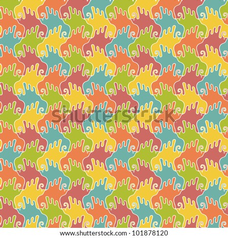 Seamless pattern with stylized colorful birds. Bright background in vintage combinatorial style. Abstract ornamental illustration for print, web, wallpaper, textile, cover, fabric, paper