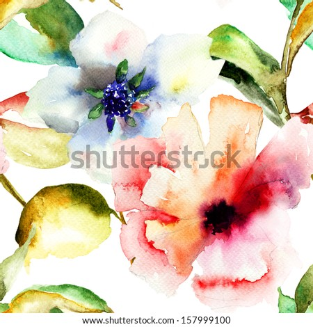 Seamless pattern with Summer flowers, watercolor illustration