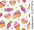 seamless pattern with sweets - stock photo