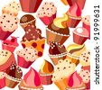 Seamless pattern with sweets on white background. Raster version. - stock photo