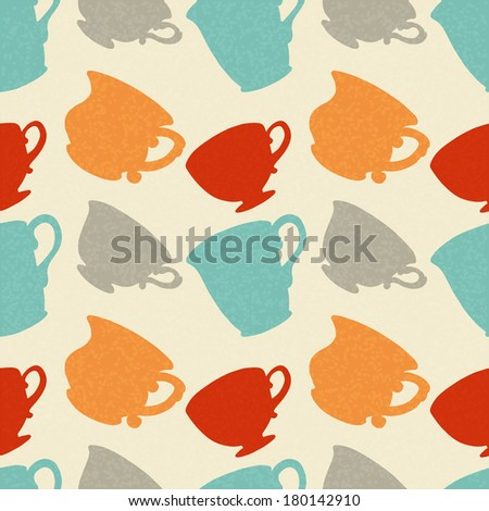 Seamless Pattern with Tea / Coffee Cups. Endless Print Silhouette Texture. Drinks. Hand Drawing. Retro. Vintage Style - raster version - stock photo