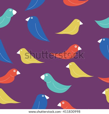 Seamless pattern with the image of birds - stock photo